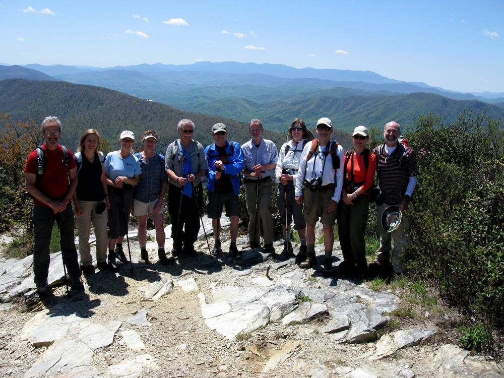 Teryy Powell and others at Table Rock in the Linville Gorge Wilderness.  Left to right: Dave Fairall, Fiammetta Rivers, Linda McCorkindale, Cara Youngblood, Joel Wooten, Mitch Davidson, John Dimling, Terry Powell, Brad Herr, Kathy Rigsbee, Jonathan Burgess.