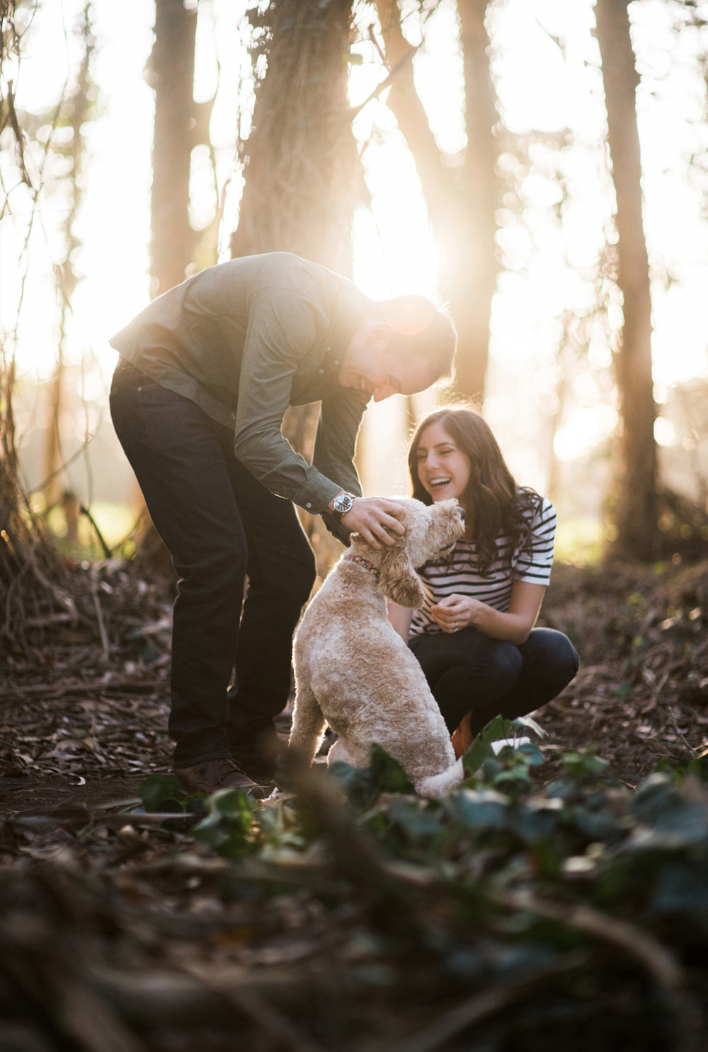 engagement photography couple pets dog in the Presidio in San Francisco