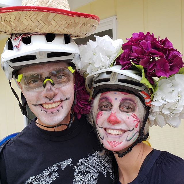 Garcías do a Halloween thing on bikes. Bottom line: I'm not good at makeup, but I may leave the flowers on the helmet permanently.