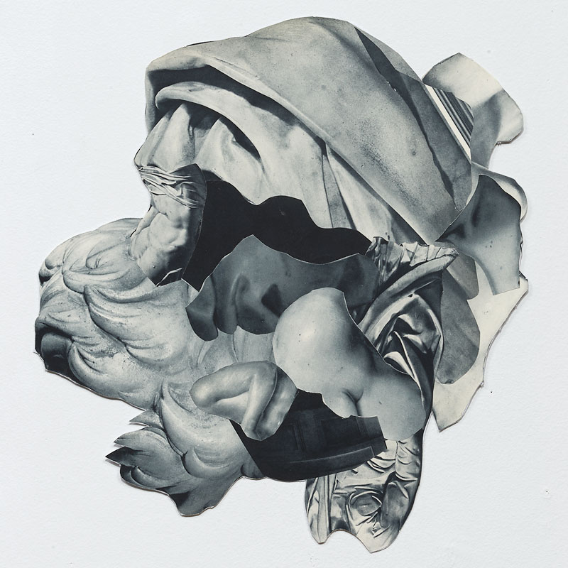 Untitled Collage (B&W helmet), 2015