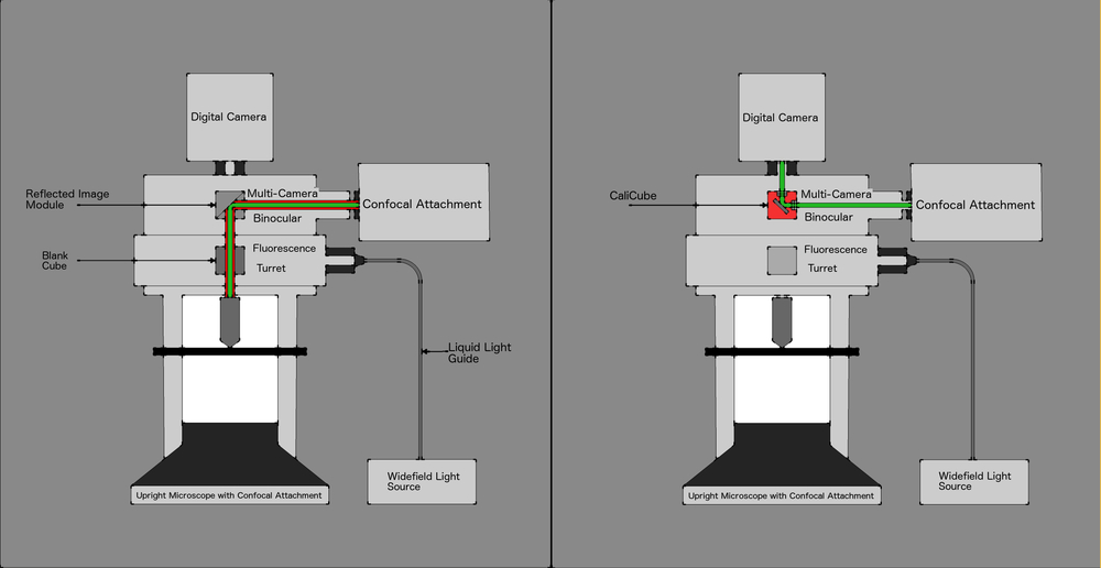 Image 1 shows two images microscopes configured with Confocal Illumination. In this example, a normal beamsplitter reflects the confocal illumination into the objective optical axis. The second image shows a CaliCube in place of a second beamsplitter that diverts the laser illumination directly to the microscope imaging system, enabling the imaging system to perform the functions of a beam profiler. These images can be taken a regular intervals to ensure laser performance is optimal.