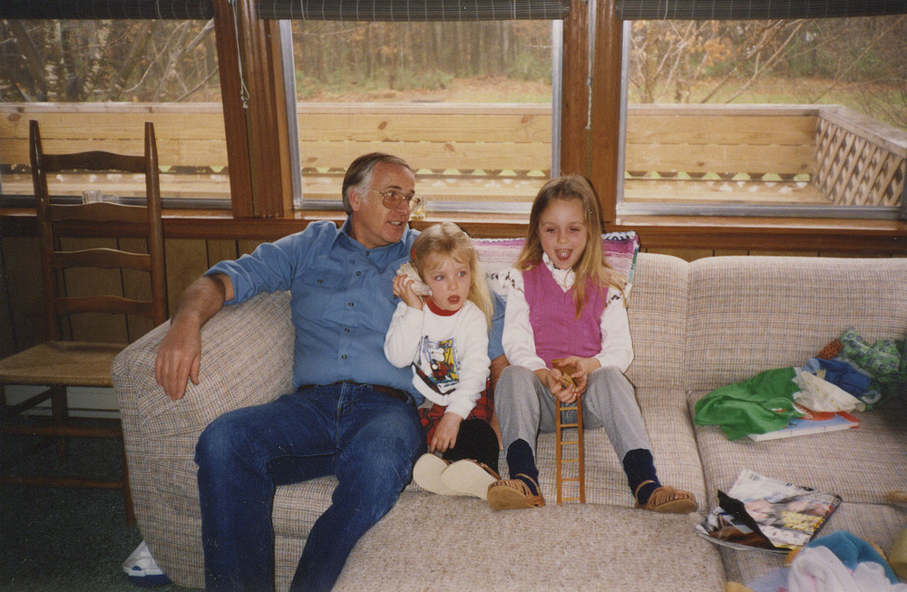 Granddaddy, me and Leslie sitting in my grandparents' sunroom chatting about life and listening to conch shells.