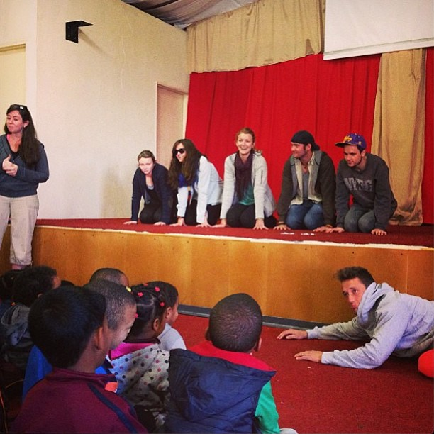 """Performing our """"Lost Sheep"""" skit for the children in Lavender Hill. Tony played the lead role, of course!"""