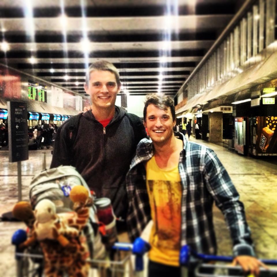 Jan and me (and Molly's bag) at Jo-Burg's airport.