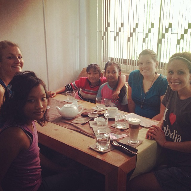Melanie and me having tea with some of our Bykota House friends