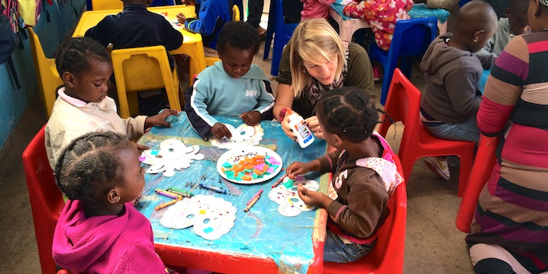 Our friends Chris and Celine (pictured here) joined us at Rainbow ECD Centre for a super fun craft day!