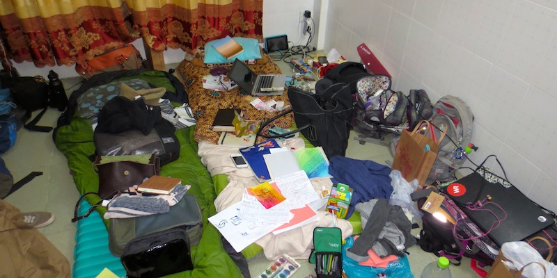 The females' room in Cambodia. I had to get over my OCD tendencies real quick.