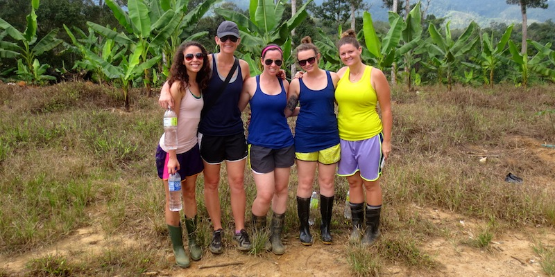 Melanie, me, Abby, Molly and Heather in the jungle.