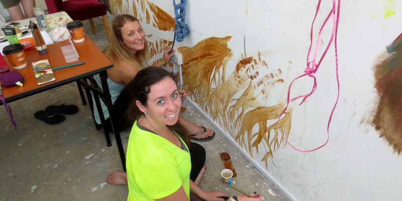 Abby and me helping with a mural at a local church in Kuala Lumpur.