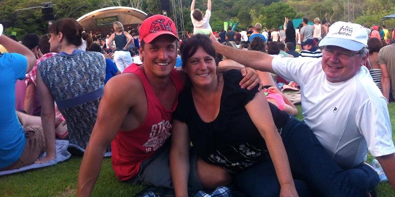 My parents and me at an outdoor concert at Kirstenbosch Botanical Gardens.