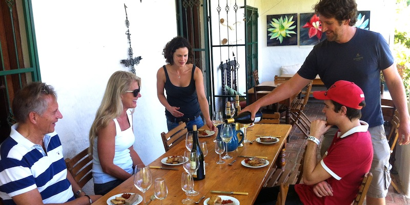 Mr. T, Cathrine and my brother Chase enjoying some locally made wine and cheese at Beaumont Wine Estate.