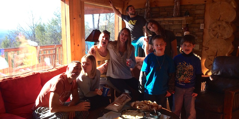 At the cabin in Gatlinburg with Julie's family.