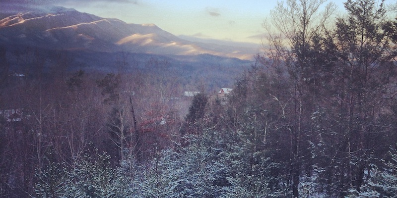 The view of the Smoky Mountainsfrom our cabin the morning after Tony proposed.