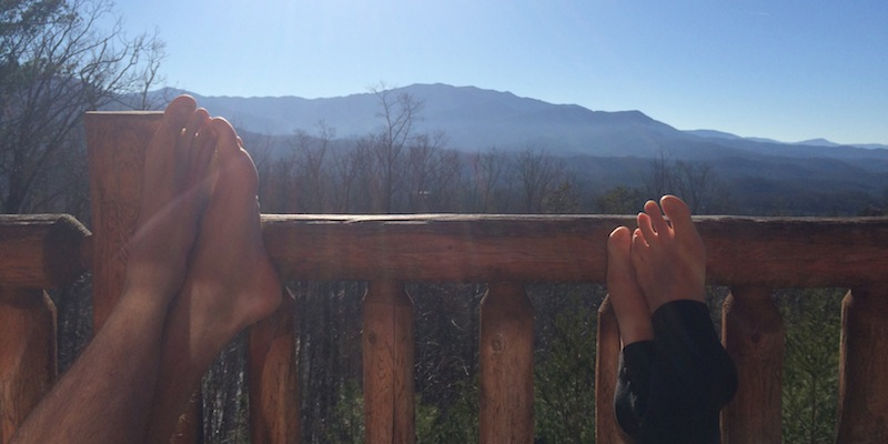 Tony and me hanging out on the porch of the cabin, happy and engaged.