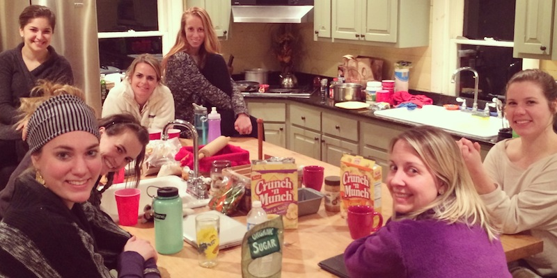 Some of the women at the retreat enjoying late night snacks.