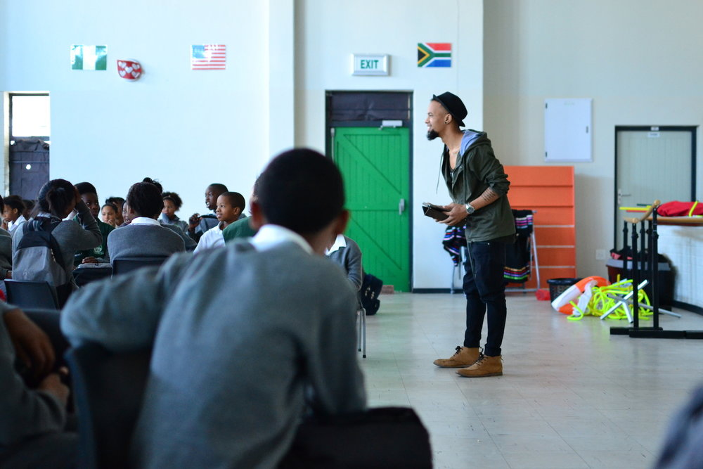 Kelvin, a Cape Town local, gave a message to students at Westlake Primary School.