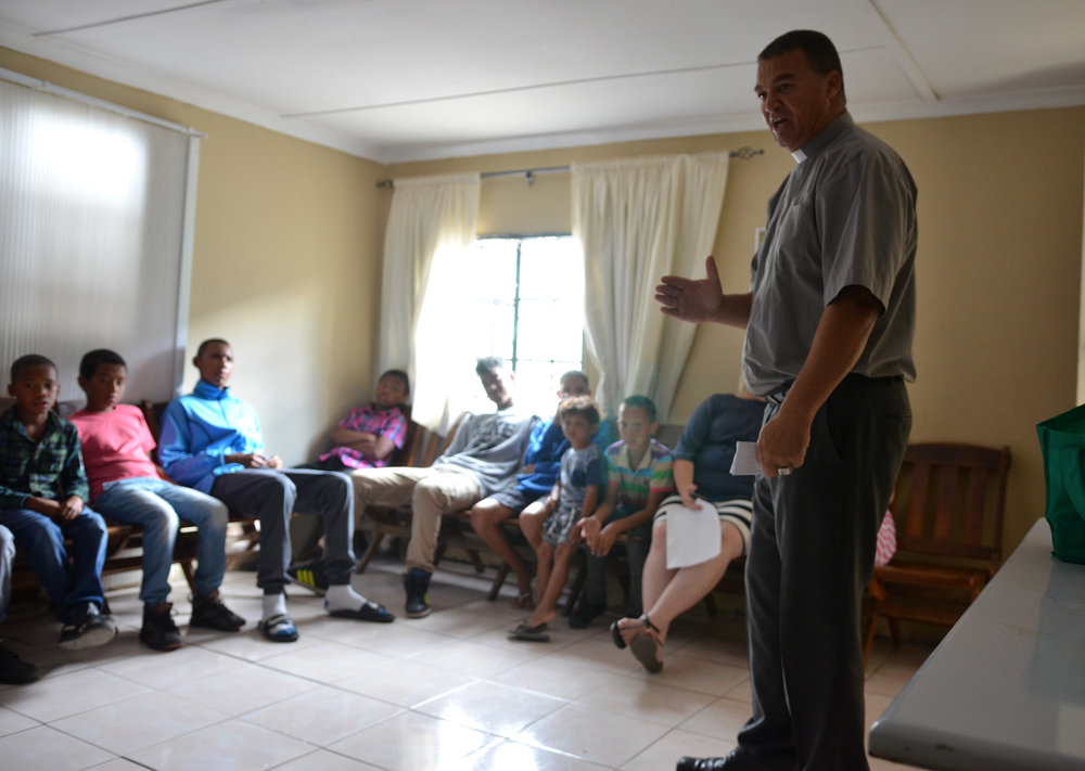 Edwin teaching a Bible lesson at the Sunday school in Cafda.
