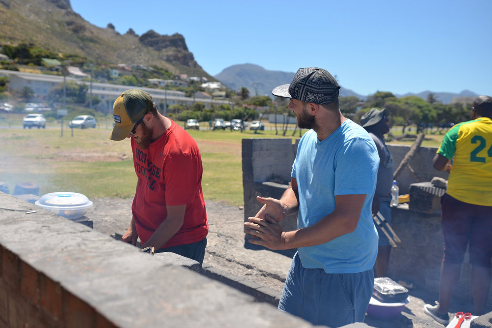 "Ross and Richard cooking the meat at a ""Funday"" braai for Future Stars."