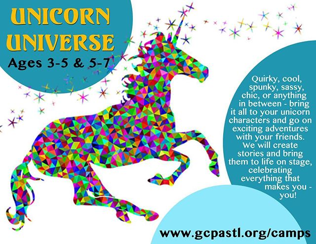 Unicorn Universe is possibly the camp we are most excited about offering this summer! True to the unicorn legacy, this camp is all about celebrating and showing off all the amazing things that make you - you! So bring all your talents, ideas, energy, and flair and join us for some one of a kind summer adventures! #gcpacamps