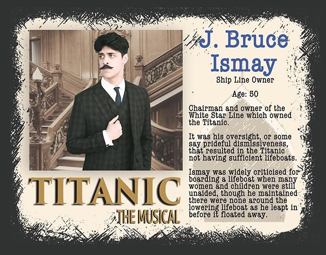 Jack plays J. Bruce Ismay, the ship's owner. Read about his legacy below, then come see Titanic to form your own opinions  about his decisions... #gcpatitanic @jack.m.v