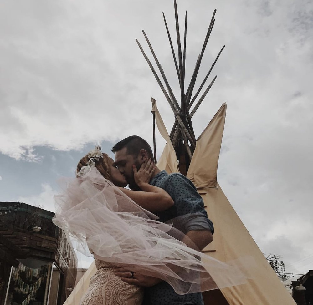 One of the options to pop the question or say I do is in front of our teepee!
