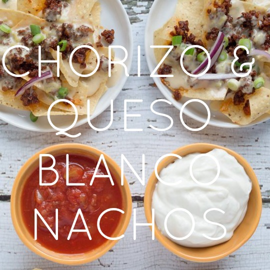 Chorizo Nachos with White Queso Sauce