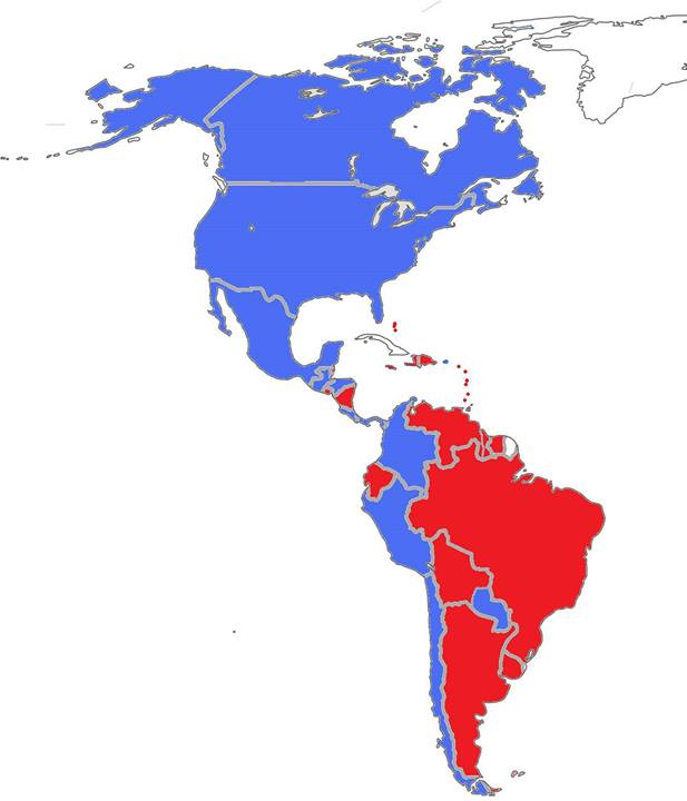 In red, countries that voted for the session to be private. In blue, countries that voted for the session to be public.