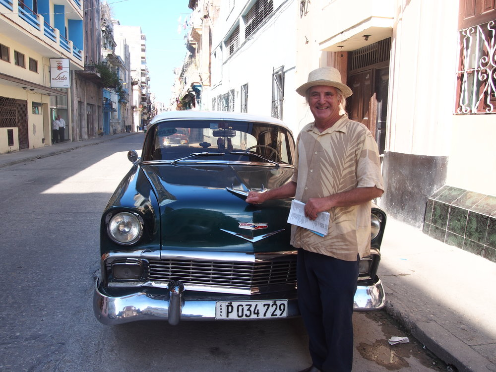 Don showing off our classic Chevy ride. We hired Luis to drive us to the Pinar del Rio region.