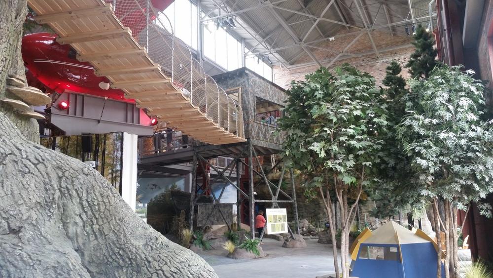 under the rope bridge