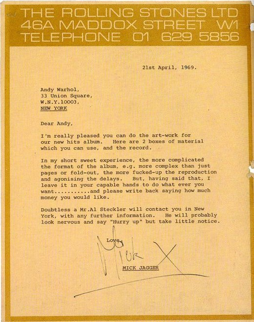 Great to see this creative brief from Mick Jagger to Andy Warhol in 1969. A lot has changed since then. But in a way, nothing has changed. (thx to Jessica Gysel)