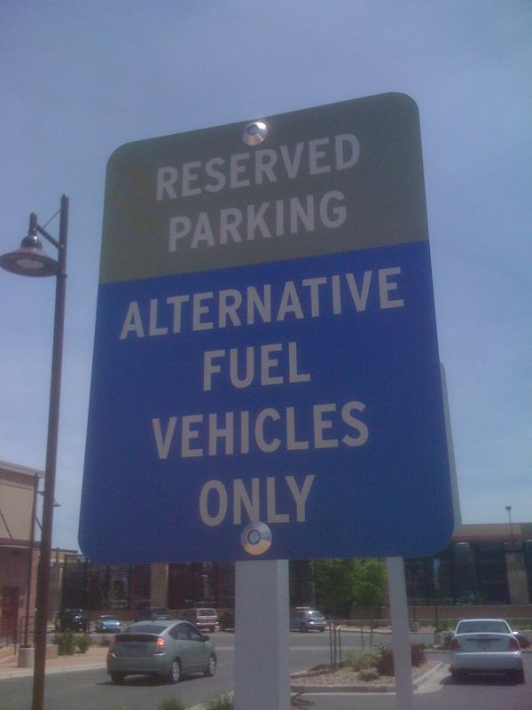 Sign of the time: parking privilege for alternative fuel vehicles.