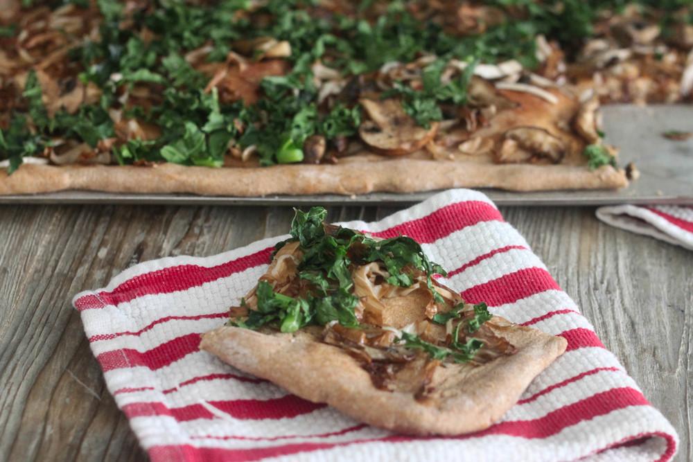 Kale, Mushroom, Radicchio Flatbread
