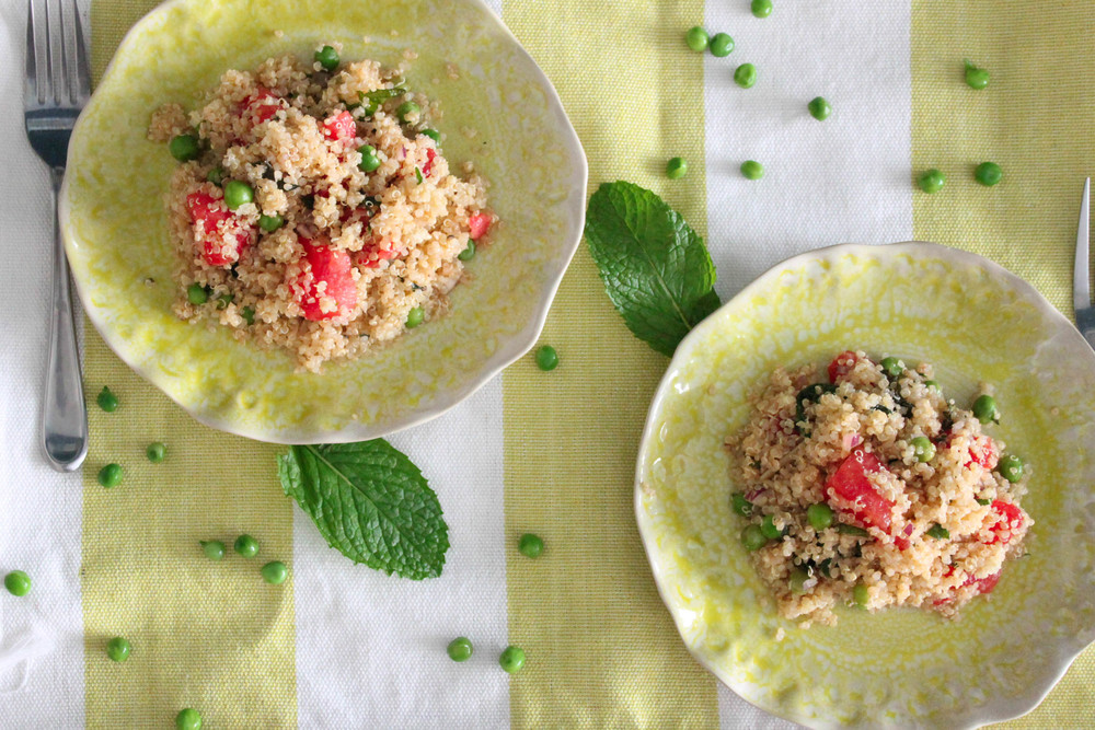 SUMMER QUINOA SALAD WITH WATERMELON AND SPRING PEAS