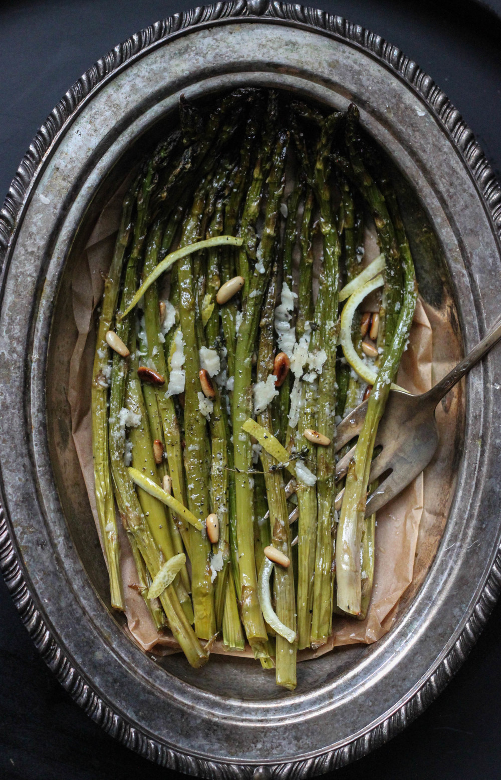 Roasted Asparagus With Truffle, Pine Nuts, and Lemon_ Sprouting From The Soul