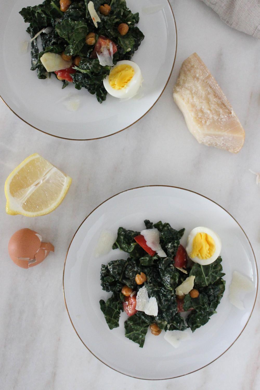 Kale Caesar Salad With Crispy Garlic Chickpea Croutons