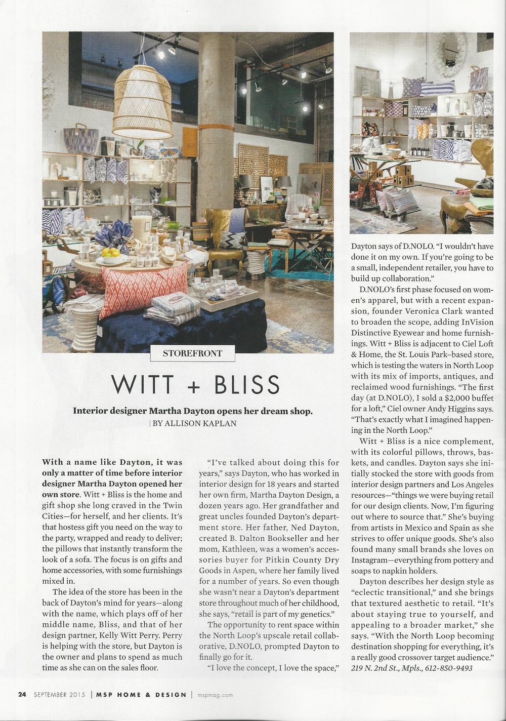Witt + Bliss in Minneapolis St. Paul Magazine Home & Design - September 2015