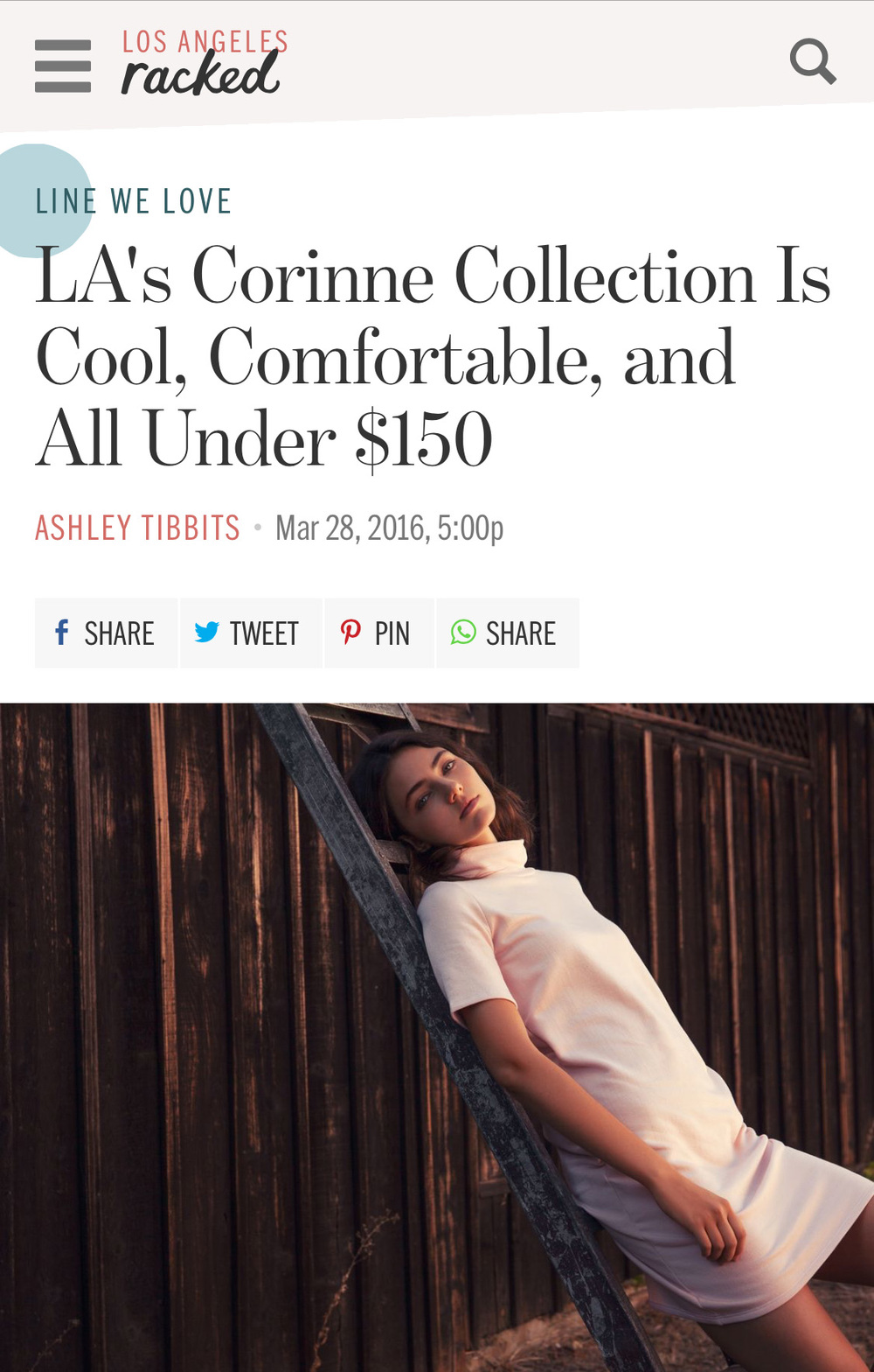Corinne featured on  Racked LA