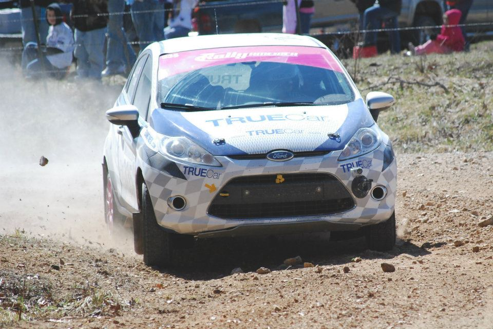 Verena Mei & Leanne Junnila of the TrueCar Rally Team races a Ford Fiesta in Rally America