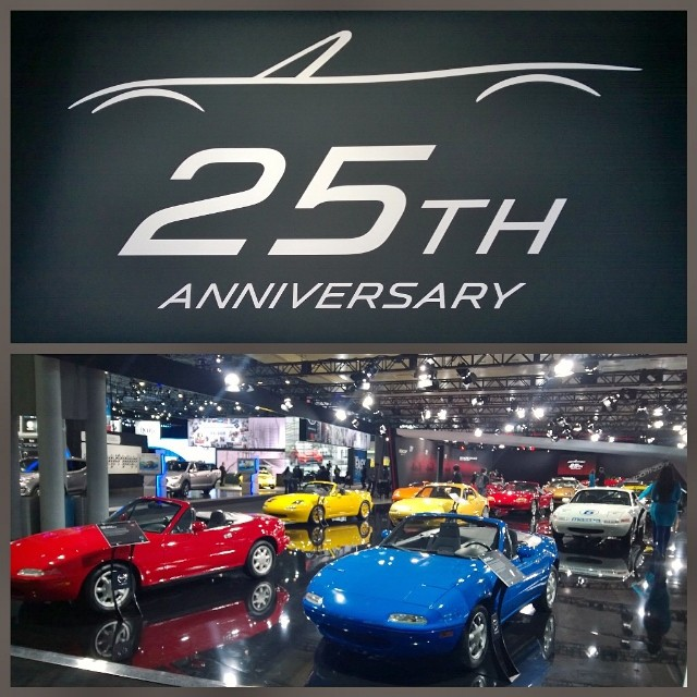 Mazda celebrating their 25th Anniversary and showing off all the generations of the MX-5