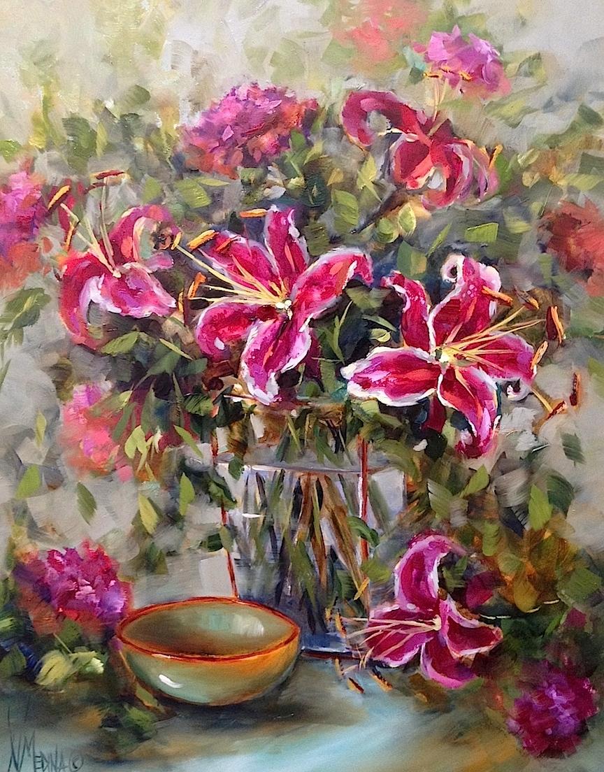 Nancy Medina  Lily Song Stargazers  20X16  Oil on Panel
