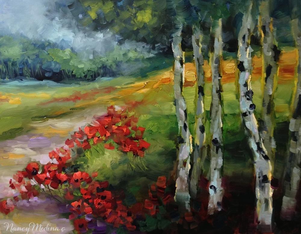 Nancy Medina  Aspen Lane Red Poppies  16X20  Oil on Panel