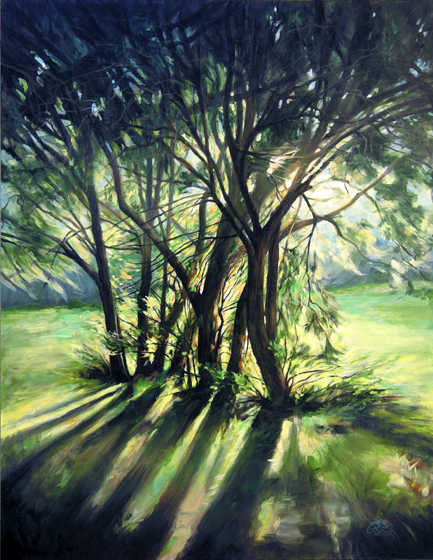 Rebecca Zook  Evening Light  24X18  Acrylic and Water-Soluble