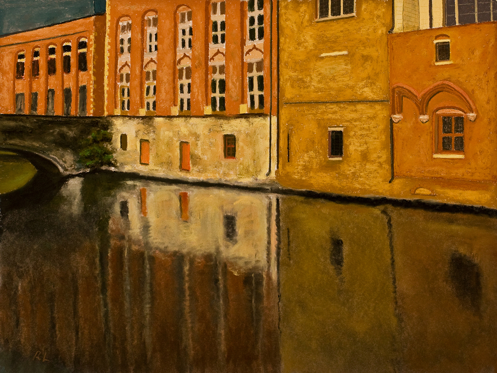 Richard Levine  Bruges, Canal Reflections  18X24  Pastel