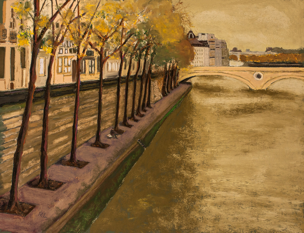 Richard Levine  Contemplation, The Seine  18X24  Pastel