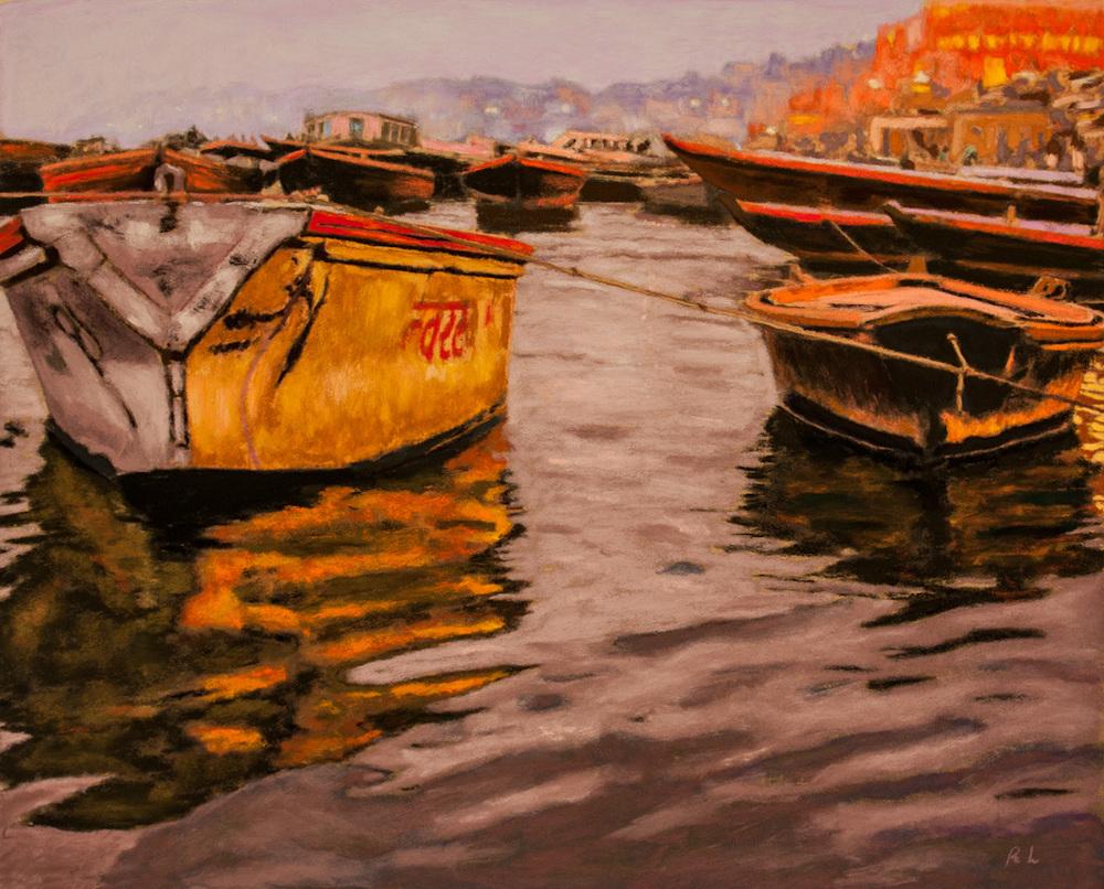 Richard Levine  Evening The Ganges, Varanasi  16X20  Pastel