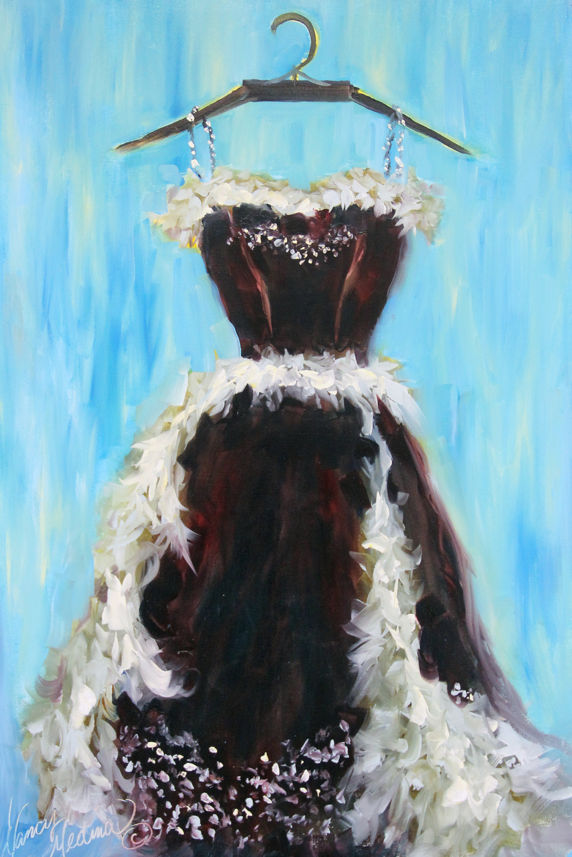 Nancy Medina  New Years Eve Ballgown  36X 24X 1.5  Oil on Deep Gallery Wrap Canvas