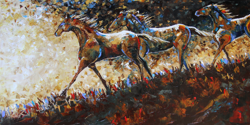 Laurie Pace  Running the Ridge  24X48  Oil