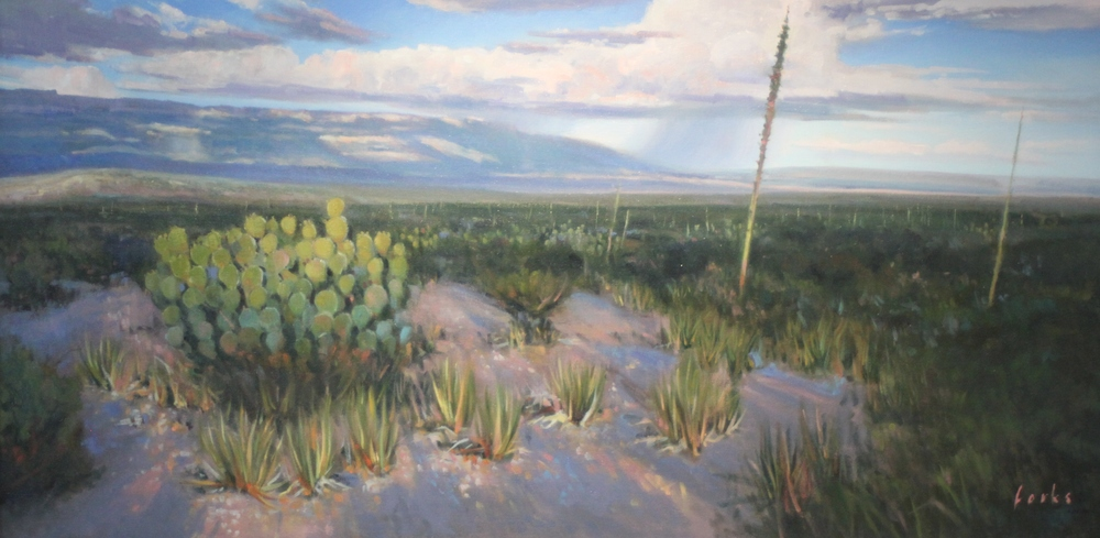 David Forks  Late Afternoon View of the Del Carmens  24X48   Oil on Canvas