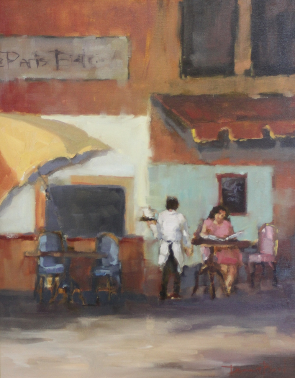 Donna Bland  Corner Cafe in Paris  20X16  Oil