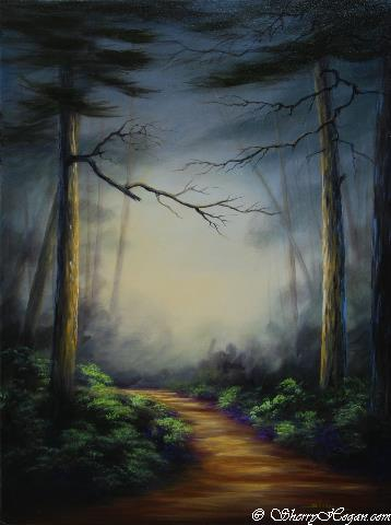 Sherry Hogan  Path Through Pine Forest Mist  24X18  Acrylic on Panel